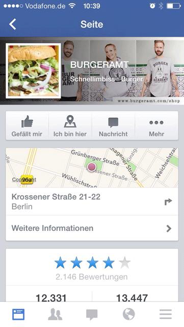 Die mobile Facebook Page vom Burgeramt
