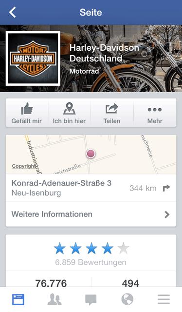 Harley-Davidson mobile Facebook-Page