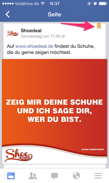 Pinned Post auf dem Handy