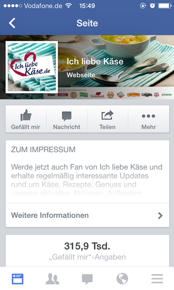 Mobiles Impressum auf Facebook