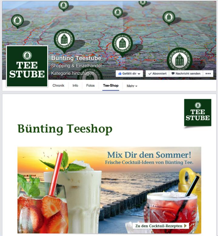 Teeshop für Bünting mit Verlinkung zu den Produkten auf der Website