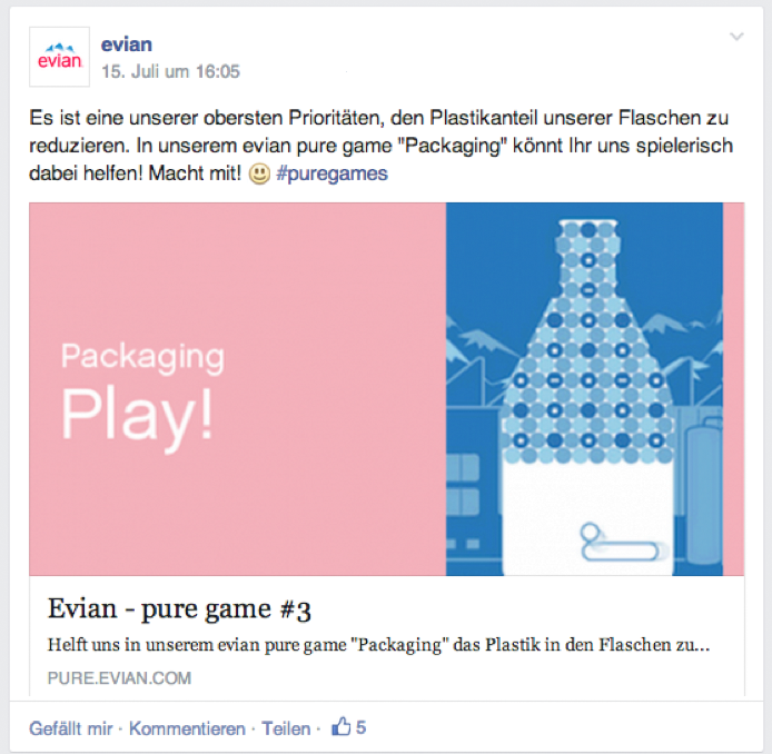Link-Post zum evian pure game