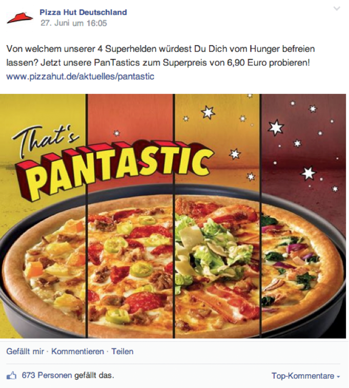 Image-Post mit Verweis zur Pizza Hut Website