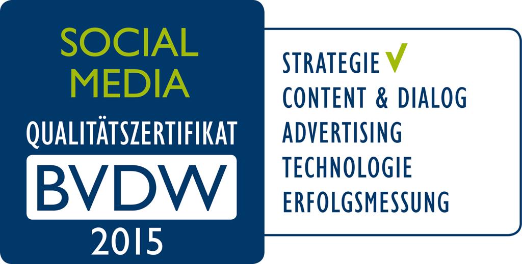 Das offizielle Social-Media-Zertifat des BVDW.