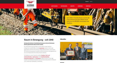 Layout der neuen Wiebe Website