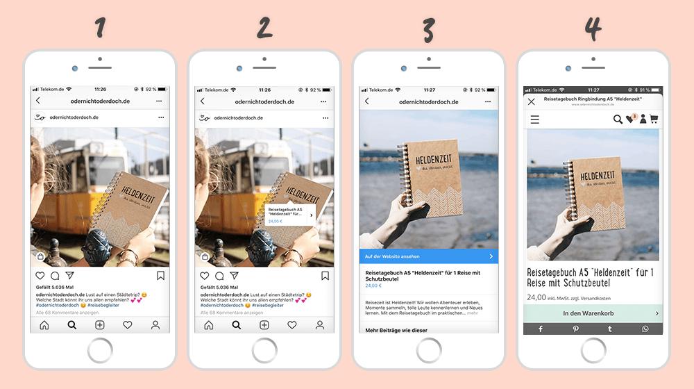 Instagram Shopping Funktion in verschiedenen Schritten