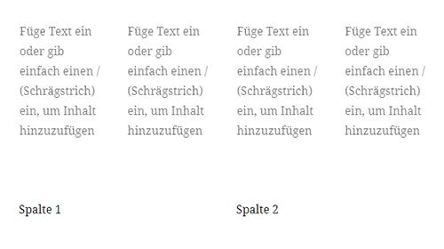 Darstellung der Spalten im Gutenberg Editor