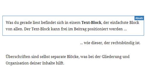 Textblock im Gutenberg Editor