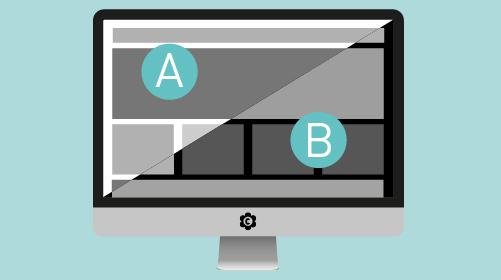 A/B- Testing mit schwarz weiß Bildschirm