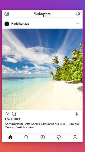Instagram-Post mit einem traumhaften Strandabschnitt in der Karibik
