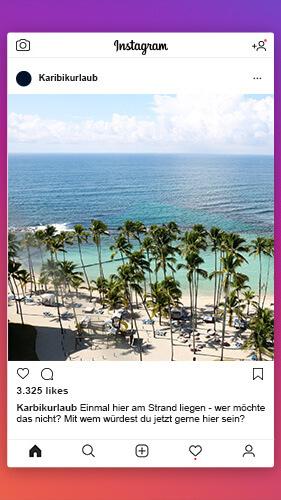 Instagram-Post mit einem Strand in der Karibik