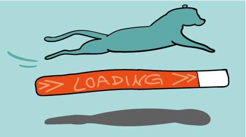 Ladezeiten optimieren: Gepard auf Ladebalken