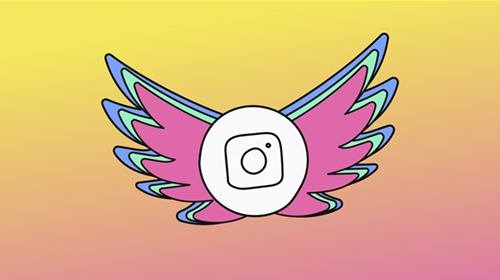 Instagram-Icon mit Paradiesvogel-Flügeln