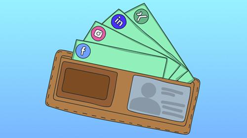 Visitenkarten mit Social-Web Icons in einer Geldbörse