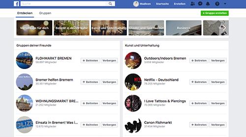 Darstellung verschiedener Facebook-Gruppen