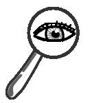 Auge schaut durch Lupe