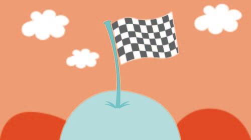 Zielflagge auf Hügel