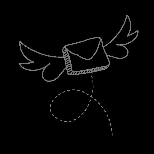 Briefumschlag mit Flügeln