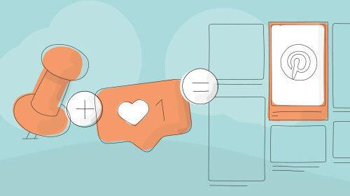Pin und Like-Symbol ergeben Pinterest-Beitrag