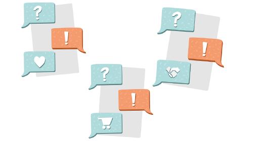 Grafik zeigt Sprechblasen mit Ausrufezeichen, Fragezeichen und Herzen