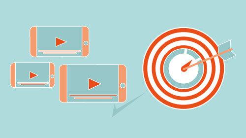 Mobile Endgeräte mit Play Button und Zielscheibe