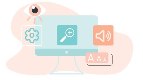 Computer umgeben von verschiedenen Icons zur Barrierefreiheit